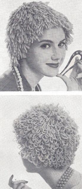 Vintage Knitting PATTERN to make Loopy Shag Wig Hat Yarn Loop Hair Loss  WigHats 32762290b13