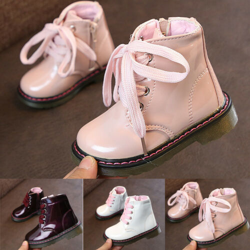 Kids Boys Girls Autumn Martin Shoes Children Toddler Lace-Up Ankle Boots Size