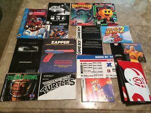 Vintage-Video-Game-Manual-Lot-NES-GAMEBOY-POSTER-SEGA-SNES-GBA-NES-Zapper
