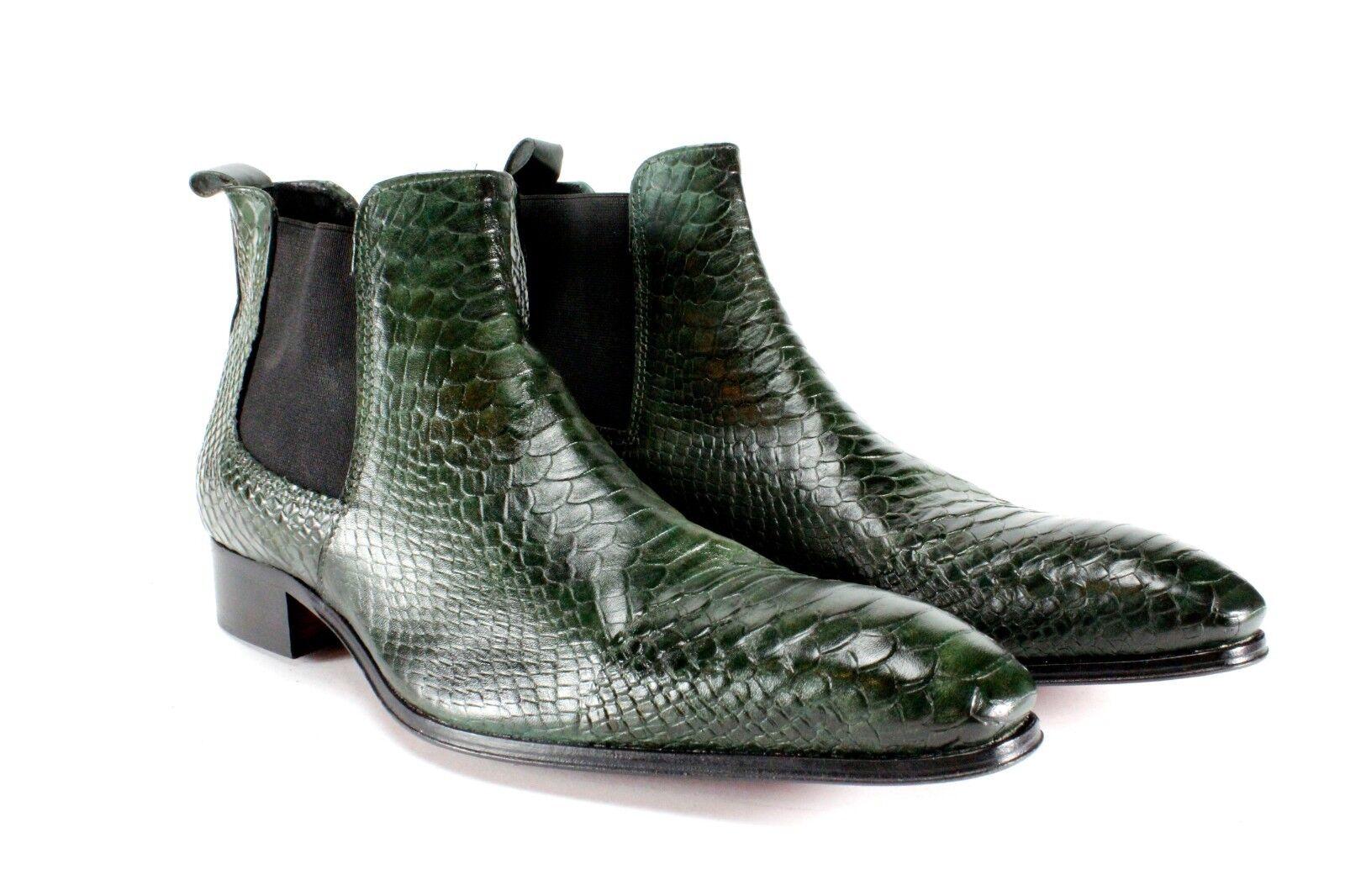 Zapatos De Vestir Ivan Troy Cocodrilo verde Hecho a Mano Cuero Italiano Hombre Zapatos botas