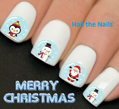 Nails WRAPS Nail Art Water Transfers Decals Christmas Snow Globes Santa YD756