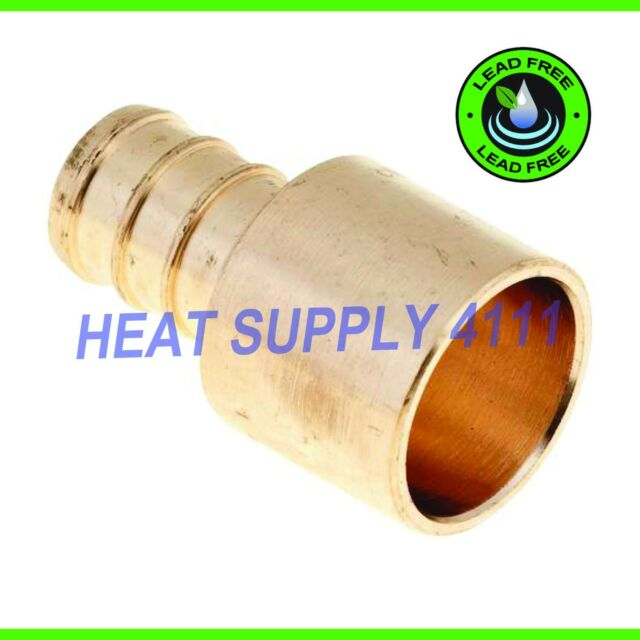 "LEAD-FREE 10 Brass Crimp Fittings 1/"" PEX x 3//4/"" Male Sweat Adapters"