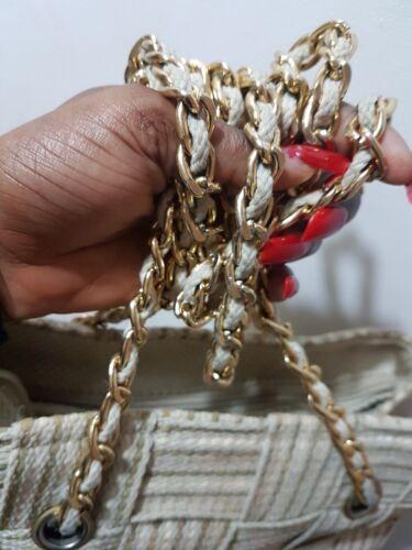 Medio tessuta Style mano d'oro Designer Catena a mano a Borsa Beige avqxA7wO