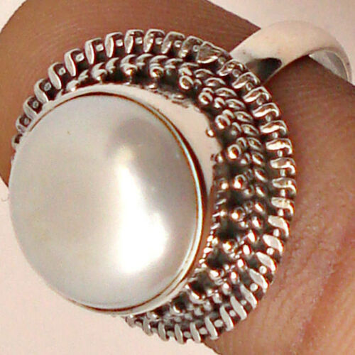 Freshwater Pearl Ring 925 solid sterling silver handmade Bijoux Taille 3-13 US