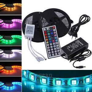 10M-SMD-5050-RGB-LED-Stripe-Streifen-Licht-Band-LEISTE-44Keys-IR-5A-Netzteil