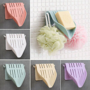 Suction-Cup-Home-Bathroom-Wall-Shower-Soap-Holder-Drain-Plate-Dish-Container-BIN