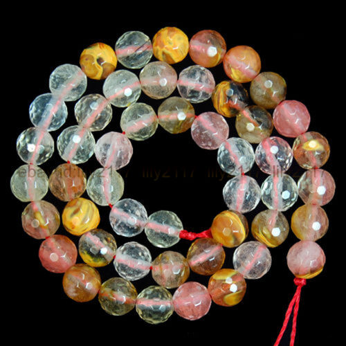 "Natural 4mm-14mm Watermelon Quartz Tourmaline Gemstone Faceted Round Beads 15/"""