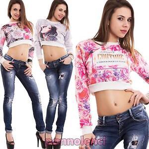 Maglia-donna-felpa-corta-fiori-fashion-top-maniche-lunghe-leopard-nuova-CC-1372