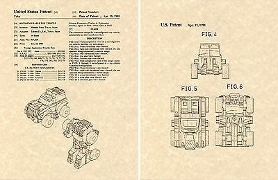 Transformers OPTIMUS PRIME G1 US Patent Art Print READY TO FRAME Obara 1983