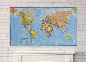 Extra large political map of the world poster free shipping image is loading extra large political map of the world poster gumiabroncs Image collections