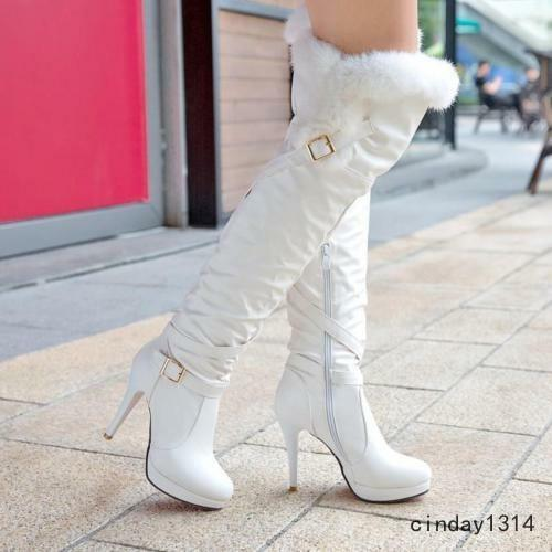 Women's Winter Fur Top Over The Knee Boots Stiletto High Heels Zip Fashion shoes