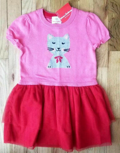 NWT HANNA ANDERSSON PINK KITTY CAT SWEATER DRESS RED TULLE 100 4 and 130 8 $70