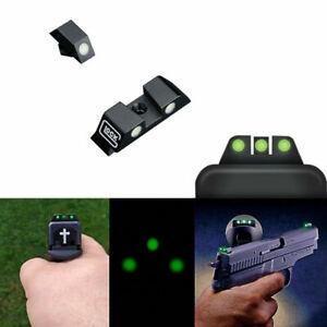 Pistol Night Vision Optics Mechanical Sight Green Luminous Glow For Glock 17 19+