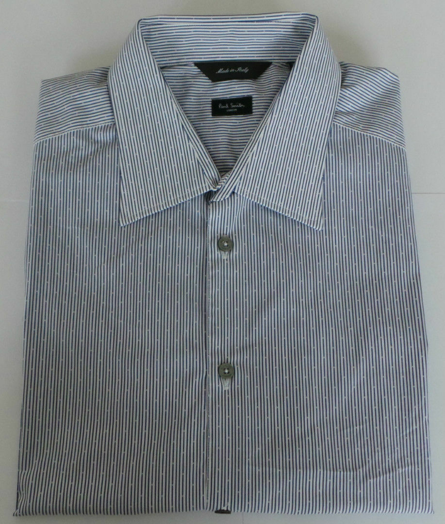 Paul Smith Shirt Size 16.5 LARGE bluee Stripes