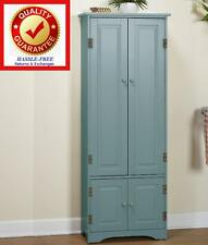 Extra Tall Kitchen Cabinet Pantry Storage Cupboard Antique Blue / Solid Wood