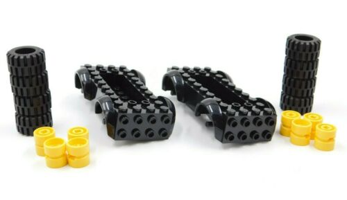 2 X LEGO VEHICLE BASE YELLOW WHEELS AND TIRES INCLUDED