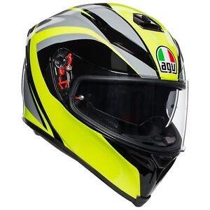 Casco Agv K-5 S Tornado Black Yellow Fluo Taglia S Integrale Pinlok Moto Strada