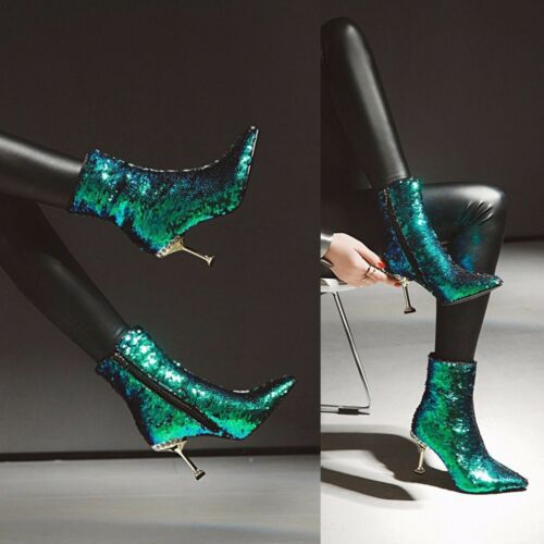 Fête Bottes Talons New Sparkle Paillettes Chaussures Femmes Aiguilles Bto9 De Aiguilles Paillettes nHpPBRxqw