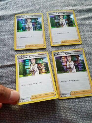 4X Professor/'s Research Holo Play set Pokemon Sword and Shield TCG Mint NM Fresh