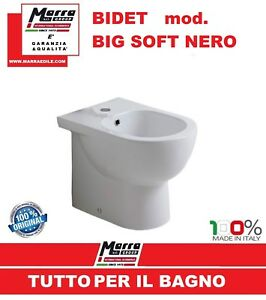 Sanitari Sospesi Nero Ceramica.Dettagli Su Bidet Filomuro Big Soft Nero Ceramica Bianco Sanitari Made In Italy Bagno