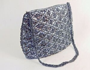 Small-Purse-Hand-Bag-Gray-Beads-amp-Sequins-on-Dark-Gray-Fabric-CHBP17