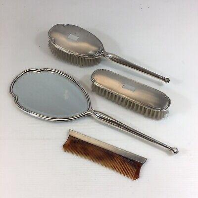 Vintage Sterling Silver Mounted, Dressing Table Set Mirror Brush