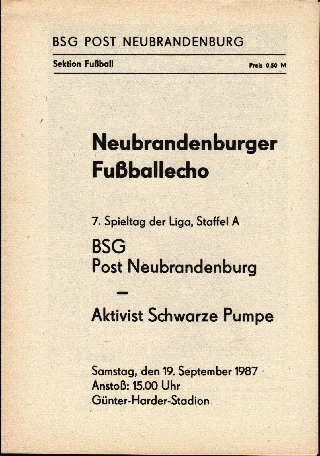 DDR-Liga brandenburg 87/88 BSG Bureau de poste brandenburg DDR-Liga Activiste Noirs Pompe,19.09.1987 59532c