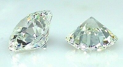 PAIR OF SUPERIOR CUT HEARTS+ARROWS LARGE 2 CT 8MM SIMULATED MOISSANITE GEMSTONES