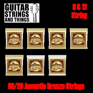 Ernie Ball Earthwood 80//20 BRONZE 6 /& 12 Acoustic Guitar Strings