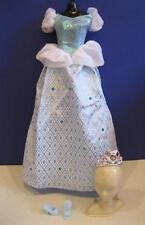 Barbie PRINCESS Cinderella Clothes Dress Blue Gown W/JEWELS, Tiara, Shoes Disney