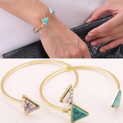 Hot Ethnic Open Bangle Silver/Gold Cuff Bracelet Boho Triangle Turquoise Jewelry