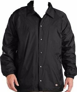ec60f35f1 Details about Dickies Mens Nylon Water Proof Windbreaker Coaches Style Snap  Front Black Jacket