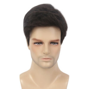 Men-Short-Brown-Wigs-Male-Layered-Wavy-Halloween-Costume-Cosplay-Party-Hair-12-039-039