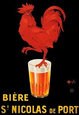 POSTER BIERE ST NICOLAS DE PORT BEER RED ROOSTER ON GLASS VINTAGE REPRO FREE S//H