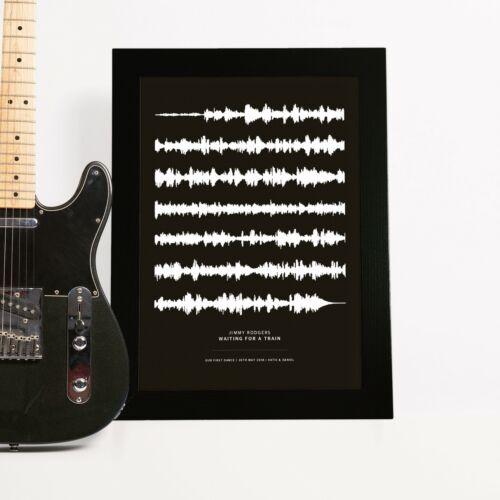 Personalised Sound Wave Print Portrait Poster Gift Wedding, Birthday, Dad