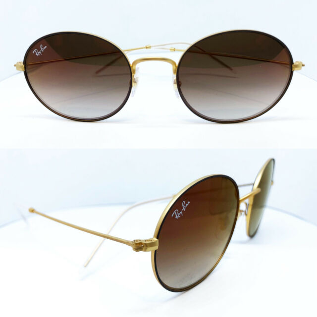 cbccdb5e60177 Ray Ban 3594 53 9115s0 Gold Brown Sunglasses Sole Oval Metal Lenses ...