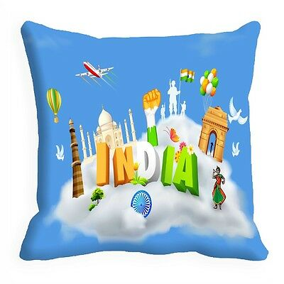 meSleep Blue India Independence Day Cushion Cover (16x16)