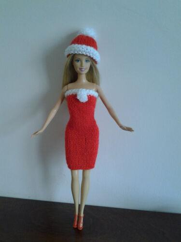 Natale HAND Knitted Barbie//Sindy Vestito Abito e cappello.