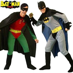 Batman-Robin-Mens-Superhero-Adults-Costume-Stag-Party-  sc 1 st  eBay & Batman/Robin Mens Superhero Adults Costume Stag Party Fancy Dress ...