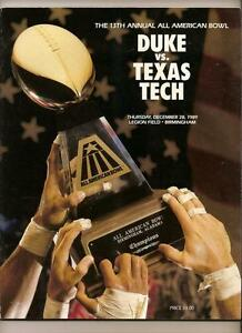 1989 All American Bowl Game Program Duck Texas Tech