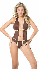 L3X NEW 2057 Exotic Monokini Rave Brown Gold Dance Bikini Club Wear S Small