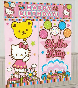 Image Is Loading HELLO KITTY Scene Setter HAPPY BIRTHDAY Party Wall