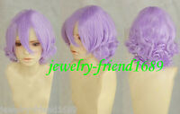 New wig Cosplay Lavender Purple short curly Wig