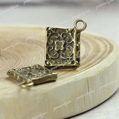 ca.20 Antik Bronze Buch Anhänger Charms Perlen Beads 14x12mm TS7342