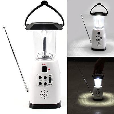 Hand Cranking/USB/Battery/Solar Power FM Radio 8 LED Camping Light Power Supply