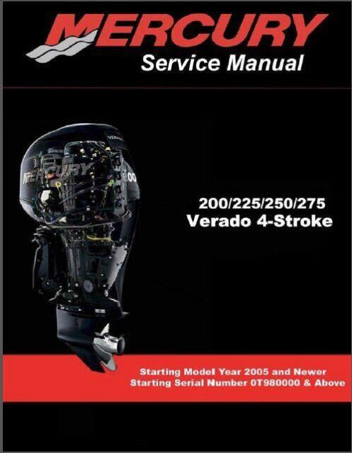 Mercury Verado 200 / 225 / 250 / 275 Outboard Motors Service Manual CD