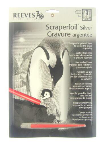 Reeves Scraperfoil Penguin Portrait silver A4 Scratch Art Craft Gift Present