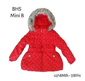 BHS Girls Coat Jacket Winter Baby Quilted Hooded Rain Warm School ...