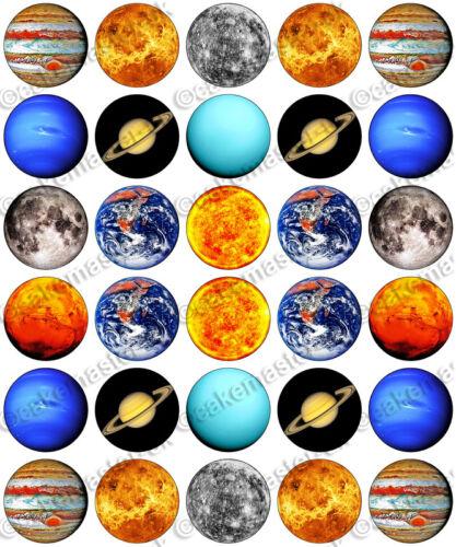 30 x système solaire sun /& planètes parti comestibles riz tranche papier cupcake toppers