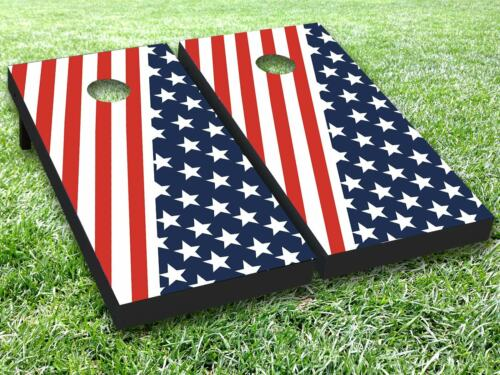 US Flag Tripe Cornhole Toss Game Board Wraps Sticker Decal Skin Graphic Dector